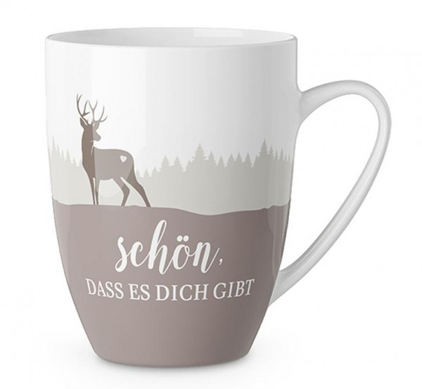 """Kaffeetasse mit Hirsch - """"Schön dass es Dich gibt"""""""