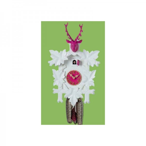 Cuckoo Clock 8 days, white / pink, 38 cm