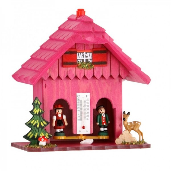 Weather house with shingles in pink