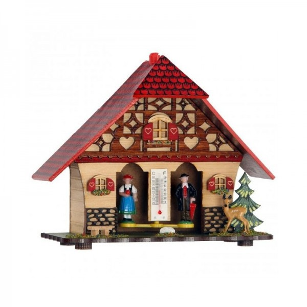 Weather house with red roof and deer