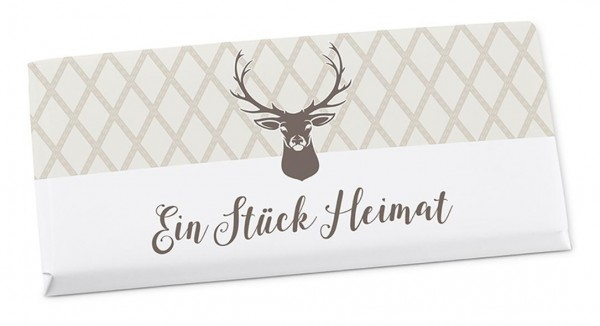 """Premium Vollmilchschokolade mit Hirschkopf - """"Ein Stück Heimat"""""""
