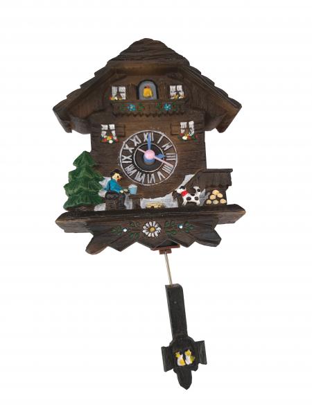 Magnet clock with quartz movement and swinging cone pendulum dark