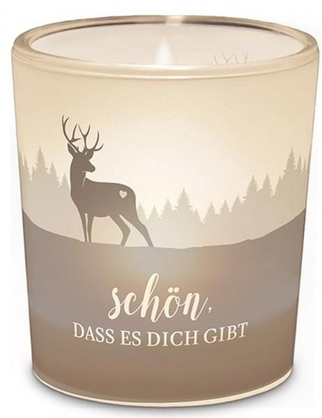 """Windlicht mit Hirsch - """"Schön dass es Dich gibt"""""""