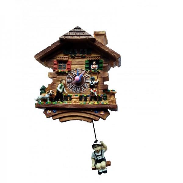 Magnet Uhr mit Quarzwerk und schwingendem Pendel Junge