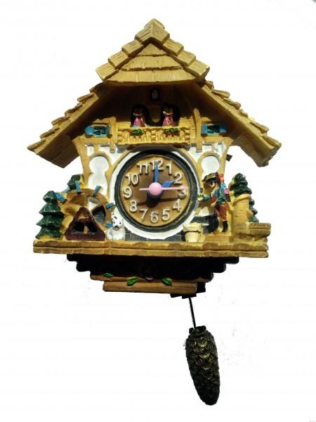 Magnet Uhr mit Quarzwerk und schwingendem Zapfenpendel hell