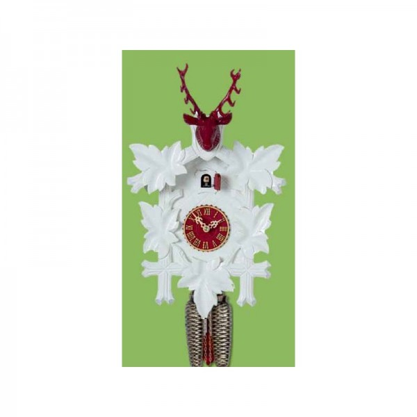 Cuckoo Clock 8 days, white / red, 38 cm