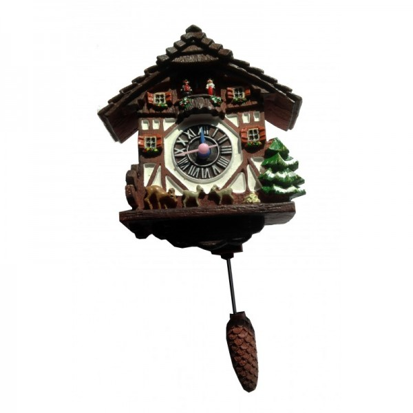 Magnet clock with quartz movement and swinging cone pendulum dark