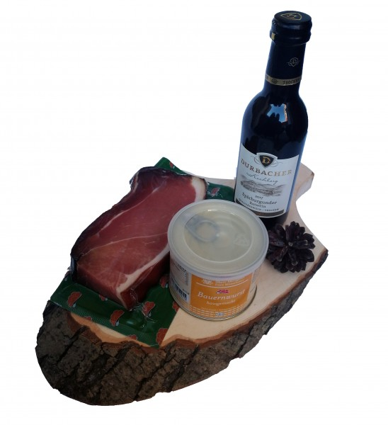 Ham board with black forest beer